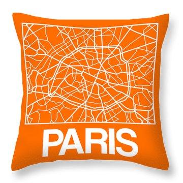 Orange Map Of Paris Throw Pillow