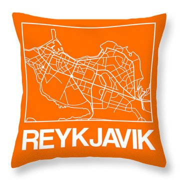 Orange Map Of Reykjavik Throw Pillow