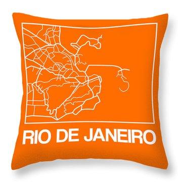 Orange Map Of Rio De Janeiro Throw Pillow