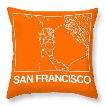 Orange Map Of San Francisco Throw Pillow