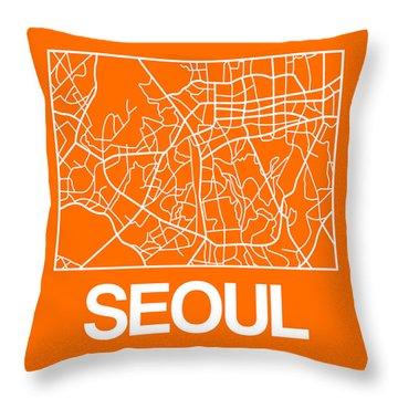 Orange Map Of Sao Paulo Throw Pillow