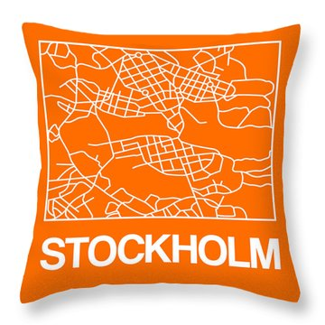 Orange Map Of Stockholm Throw Pillow