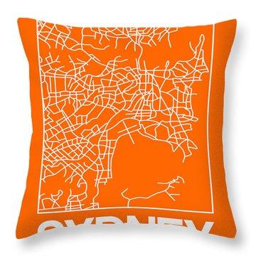 Orange Map Of Sydney Throw Pillow