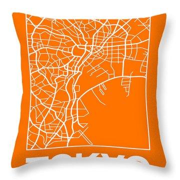 Orange Map Of Tokyo Throw Pillow