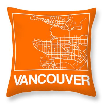 Orange Map Of Vancouver Throw Pillow