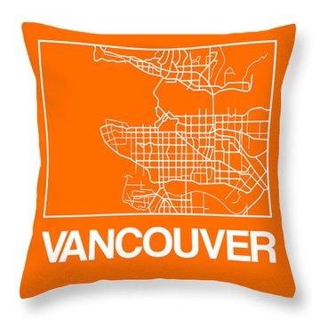 Orange Map Of Vancouver Throw Pillow