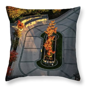 Orange Trees In Autumn Throw Pillow