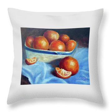 Oranges And Blue Throw Pillow