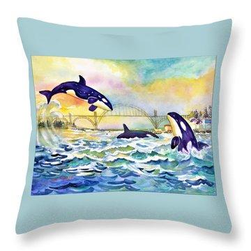 Orcas In Yaquina Bay Throw Pillow