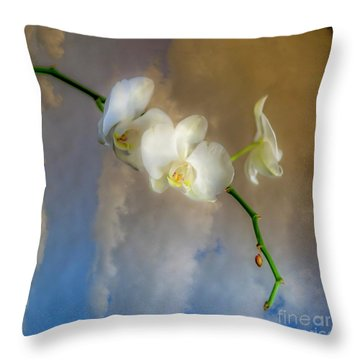 Orchid With Clouds Throw Pillow
