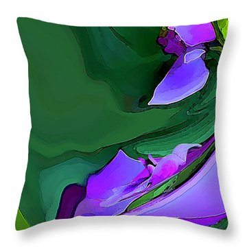 Throw Pillow featuring the digital art Orchids And Emeralds by Gina Harrison