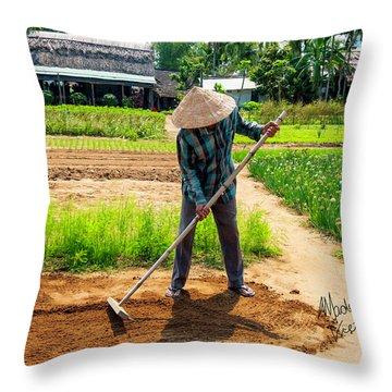 Organic Farmer In Hoi An, Vietnam Throw Pillow