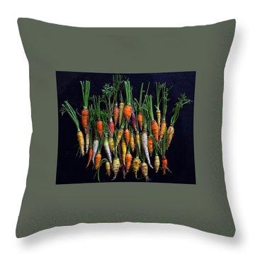 Organic Rainbow Carrots Throw Pillow