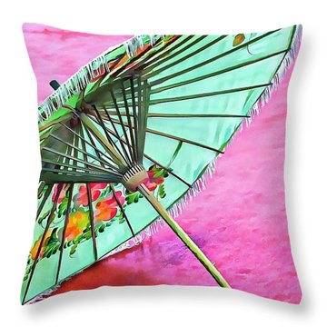 Throw Pillow featuring the photograph Oriental Green Parasol by Dorothy Berry-Lound
