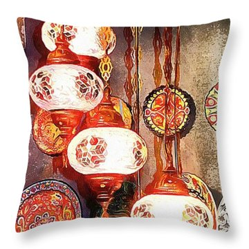 Throw Pillow featuring the photograph Oriental Lamp by Dorothy Berry-Lound