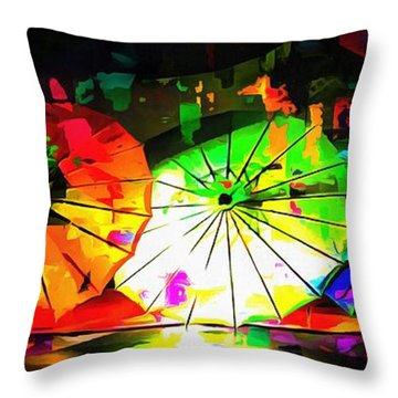 Throw Pillow featuring the photograph Oriental Parasols Abstract by Dorothy Berry-Lound