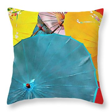 Throw Pillow featuring the photograph Oriental Parasols Mixture by Dorothy Berry-Lound