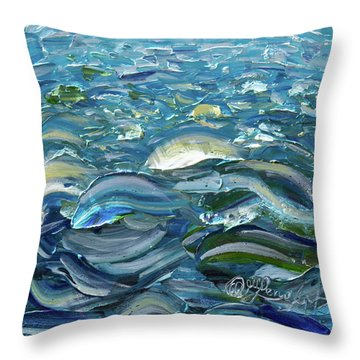 Throw Pillow featuring the painting Original Oil Painting With Palette Knife On Canvas - Impressionist Roling Blue Sea Waves  by OLena Art Brand