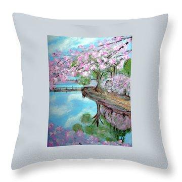 Original Painting. Joy Of Spring. Throw Pillow