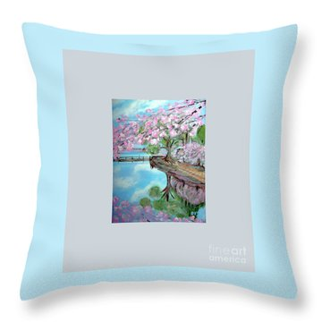 Original Painting. Joy Of Spring. Throw Pillow