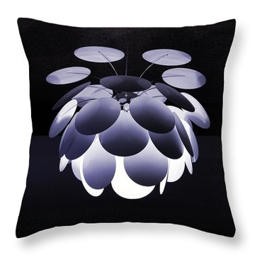 Throw Pillow featuring the photograph Ornamental Ceiling Light Fixture - Blue by Debi Dalio