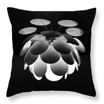 Throw Pillow featuring the photograph Ornamental Ceiling Light Fixture - Grayscale by Debi Dalio