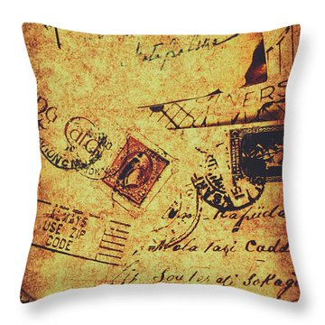 Ornate Postal Grunge Throw Pillow