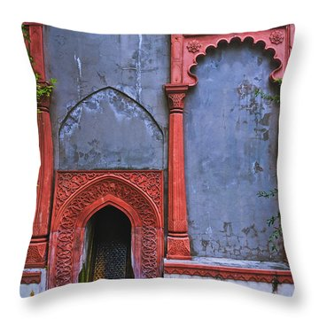 Ornate Red Wall Throw Pillow