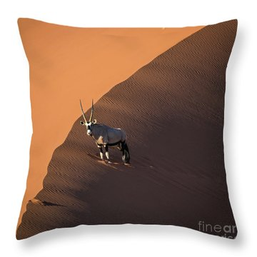 Oryx On The Edge, Namibia Throw Pillow