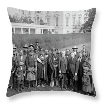 Osage Indians Visit President Coolidge Throw Pillow