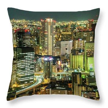 Osaka Skyline, Japan Throw Pillow
