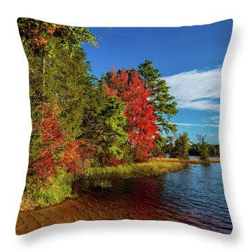 Throw Pillow featuring the photograph Oswego Lake Pinelands by Louis Dallara