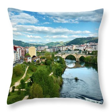 Ourense And The Roman Bridge From The Millennium Bridge Throw Pillow