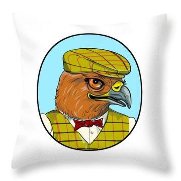 Outdoorsman Hawk Head Drawing Throw Pillow