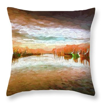 Outer Banks Fishing Boats At Oregon Inlet Ap Throw Pillow