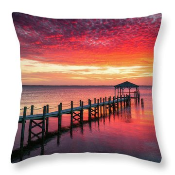 Outer Banks North Carolina Sunset Seascape Photography Duck Nc Throw Pillow