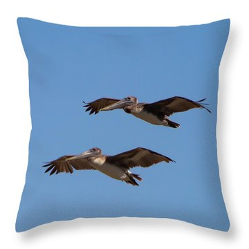 Throw Pillow featuring the photograph Outer Banks Pelicans by Lora J Wilson