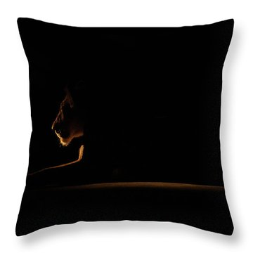 Outline African Lion Throw Pillow