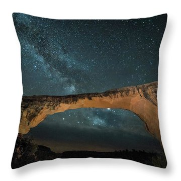 Owachomo Natural Bridge And Milky Way Throw Pillow