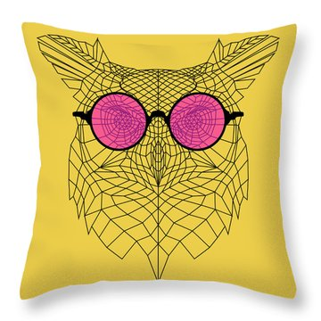 Owl In Pink Glasses Throw Pillow