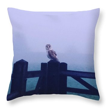 Owl In The Mist Throw Pillow