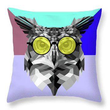 Owl In Yellow Glasses Throw Pillow