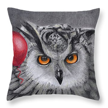 Owl With The Red Balloon Throw Pillow