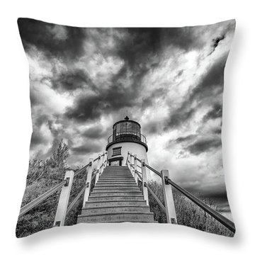 Throw Pillow featuring the photograph Owls Head Lighthouse In Black And White by Rick Berk