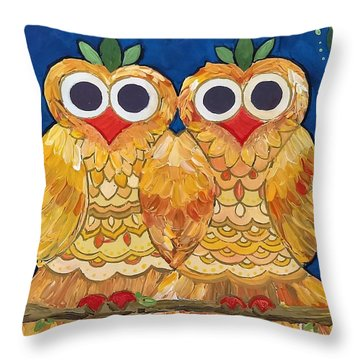 Throw Pillow featuring the painting Owls On A Branch by Caroline Sainis