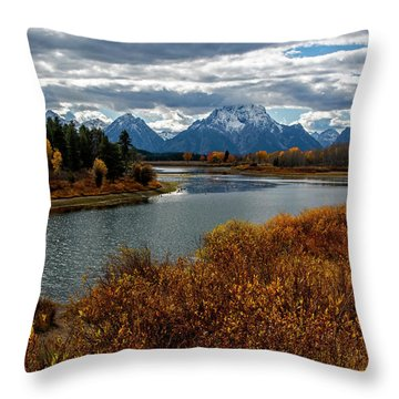 Throw Pillow featuring the photograph Oxbow Bend by Scott Read