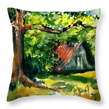 Ozarks Barn In Boxley Valley - Late Summer Throw Pillow