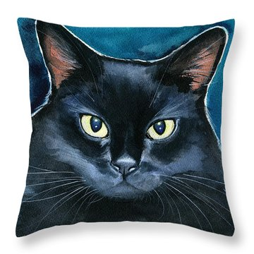 Ozzy Black Cat Painting Throw Pillow