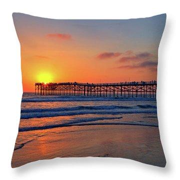 Pacific Beach Pier Sunset Throw Pillow