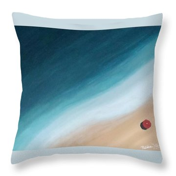 Pacific Ocean And Red Umbrella Throw Pillow